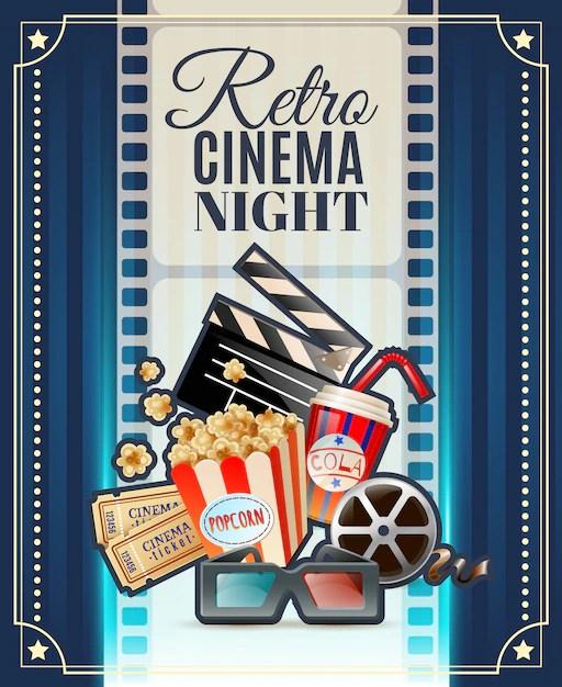 retro cinema night invitation poster