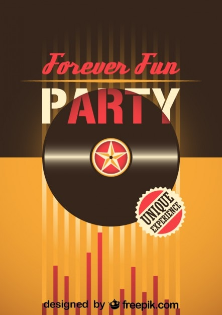 Retro Party Poster Vector Free Download