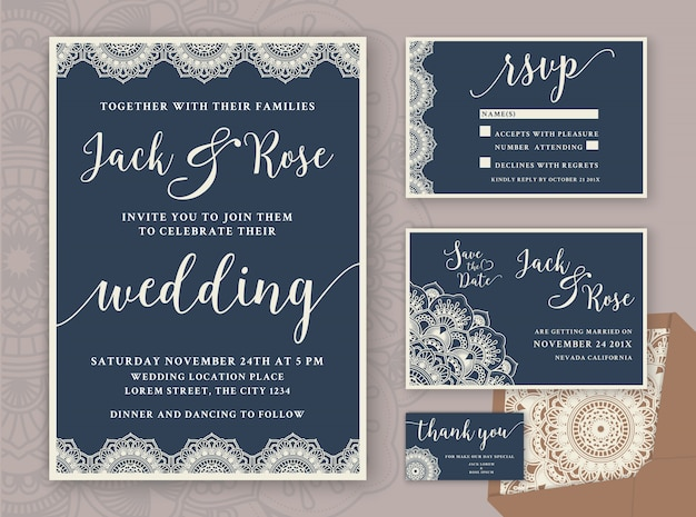 Rustic Wedding Invitation Design Template Include Rsvp Card Save The Date Thank