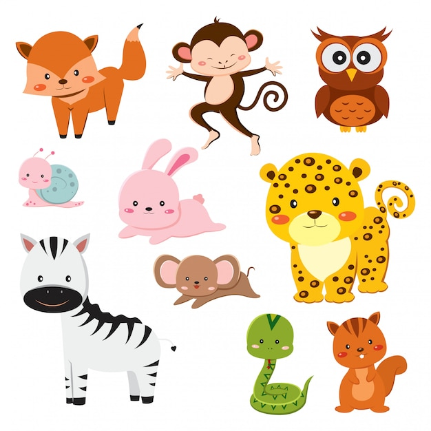 Premium Vector Set Of Cute Cartoon Animals