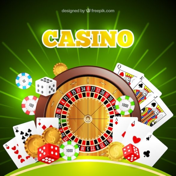 Premium Vector   Shiny casino background with roulette and cards