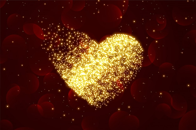 Shiny Particles Golden Heart With Red Background Free Vector