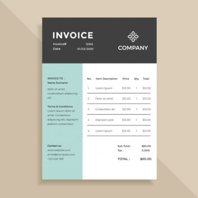 Simple Elegant Invoice Template Design Vector   Premium Download Simple Elegant Invoice Template Design Premium Vector
