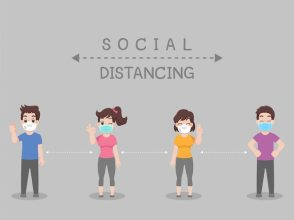 Social distancing, people keeping distance for infection risk and ...