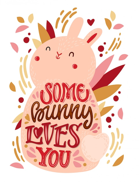 Download Some bunny loves you   Premium Vector