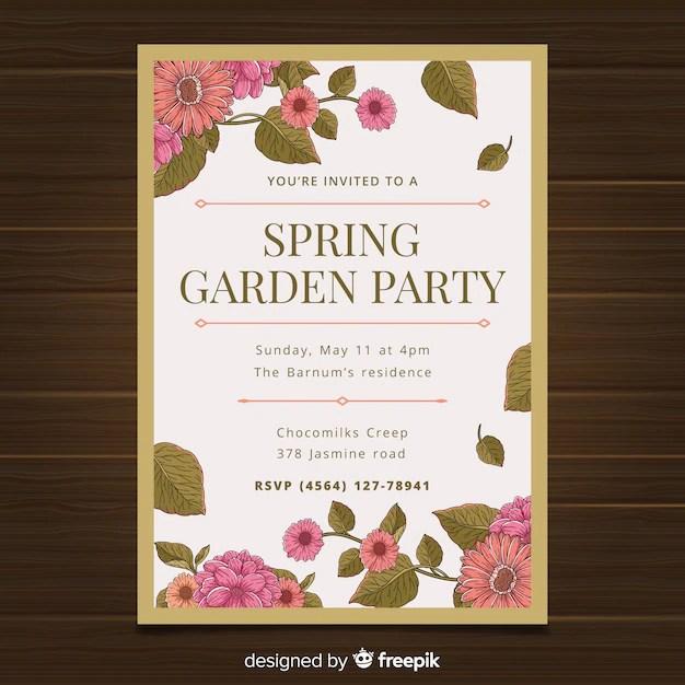 Spring Garden Party Invitation Template Free Vector