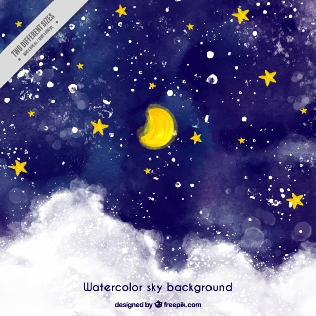 Starry Sky Background Painted With Watercolors Vector
