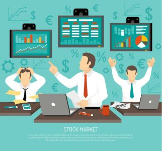 free vector stock market trader illustration