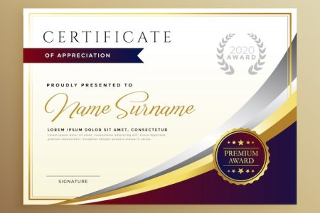 Stylish certificate template design in golden theme Vector   Free     Stylish certificate template design in golden theme Free Vector