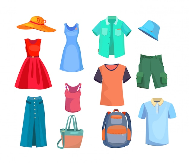 Summer clothes set Free Vector