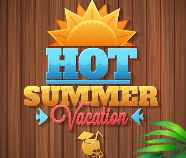 Summer Vacation Logo Wooden Texture Free Vector