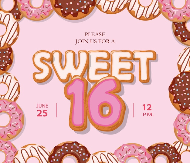 Premium Vector Sweet 16 Birthday Card Cute Cartoon Letters And Donut Frame
