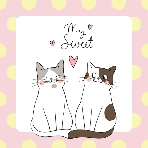 Download Template background couple love cat with word my sweet ...