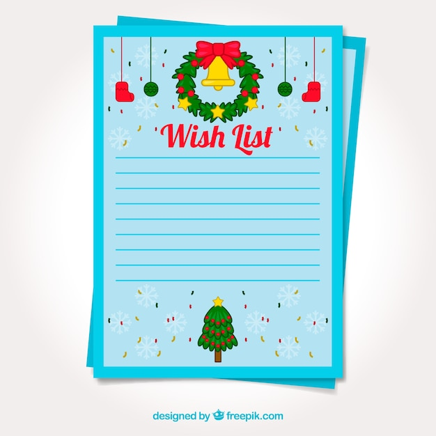 Free Vector Template Of A Christmas Wish List