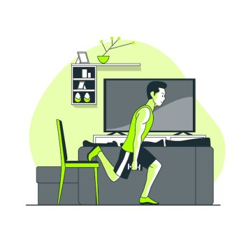 Training at home concept illustration Free Vector People vector created by stories