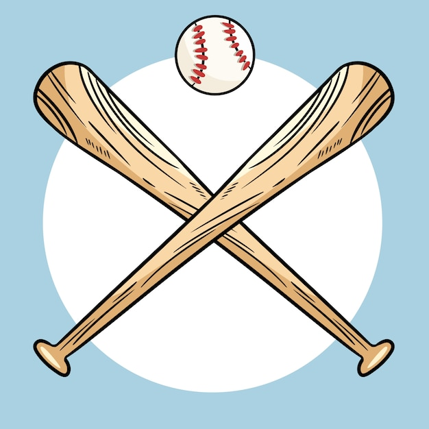 Download Two crossed baseball bats and ball, icon sports logo ...