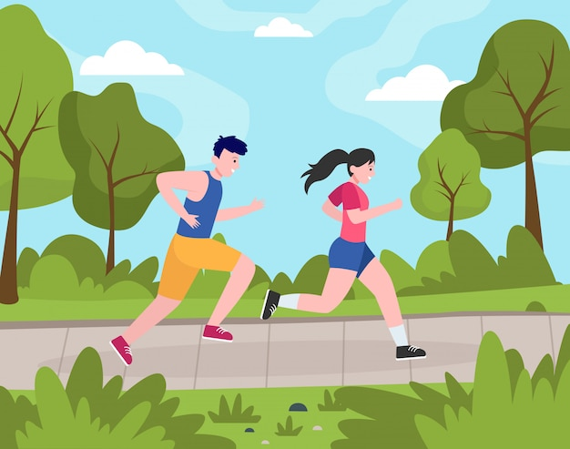 Free Vector | Two happy people jogging in park