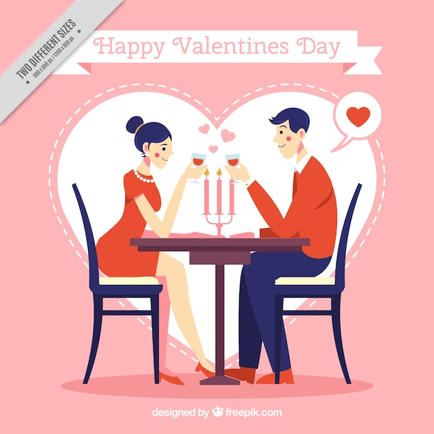 Valentine Background With Couple On A Date Vector Free