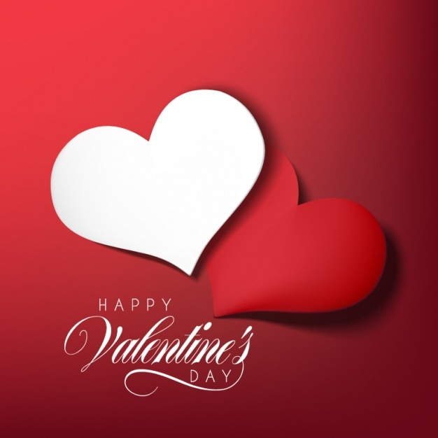 Valentine's Day Design Free Vector - 2 Beautiful Red & White Hearts Overlapping