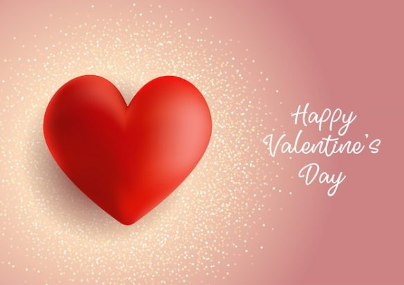 Red Heart With Glitter Background Free Vector