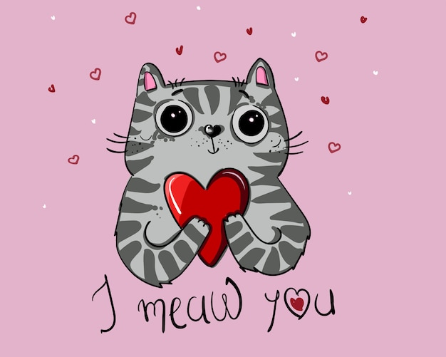 Download Vector illustration character design cat love with heart ...