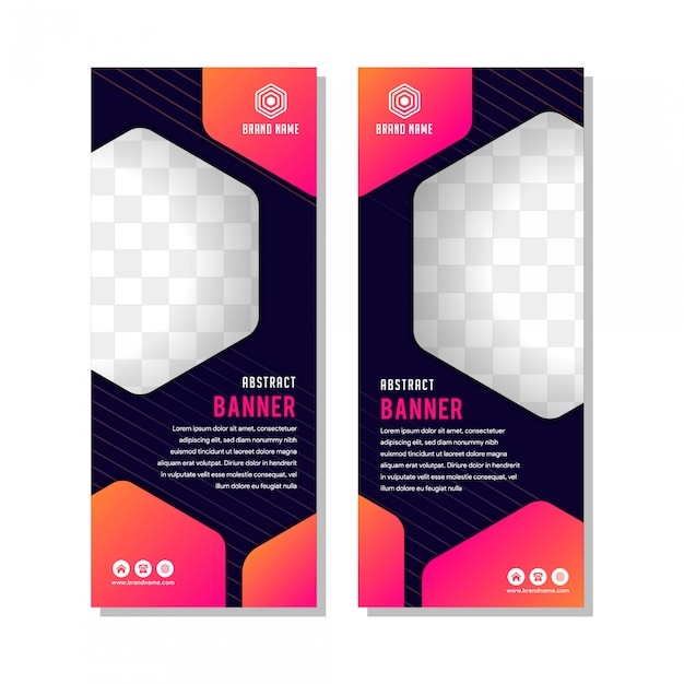 Vertical Banner Template Layout Design Creative Modern With
