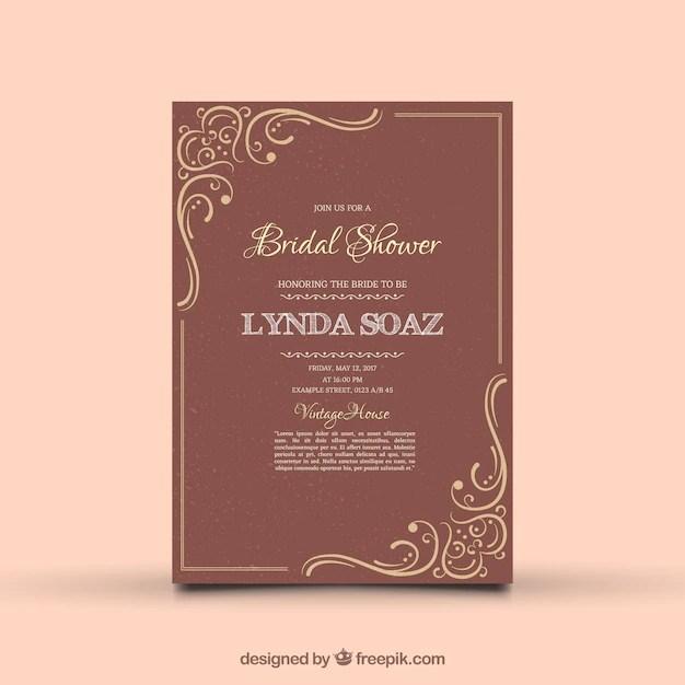 Vine Bridal Shower Invitation With Ornamental Decoration