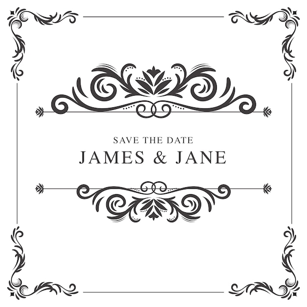 Elegant Fl Decorative Wedding Invitation Vector Cards