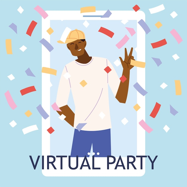 Premium Vector Virtual Party With Black Man Cartoon And Confetti In Smartphone Design Happy Birthday And Video Chat