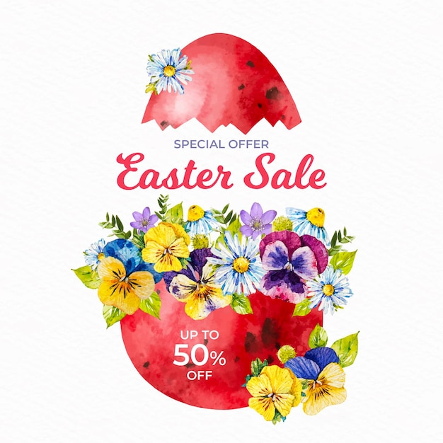 Watercolor easter sale Free Vector