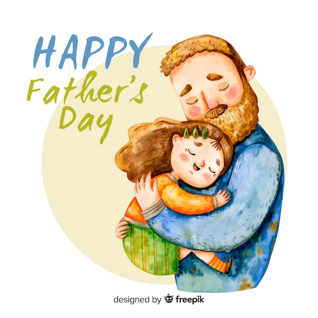 Father Hugging Daughter - Watercolor Father's Day Illustration Free Vector
