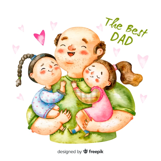 Watercolor father's day Illustration - Dad Carrying Two Daughters Free Vector