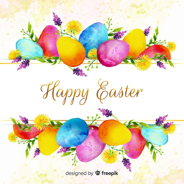 Watercolor happy easter day background Free Vector
