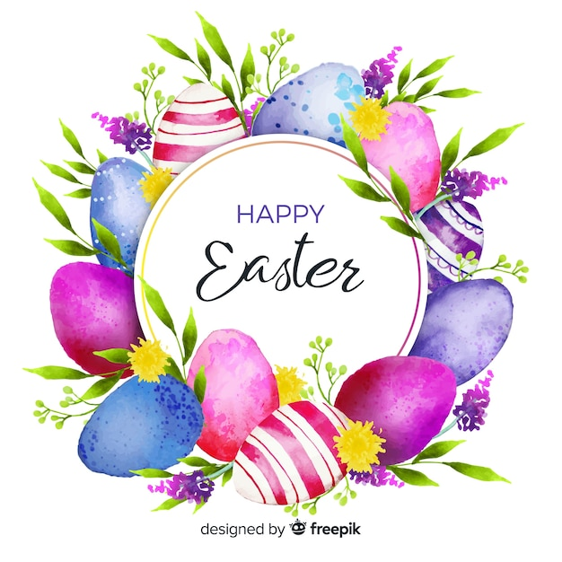 Watercolor happy easter day background Premium Vector