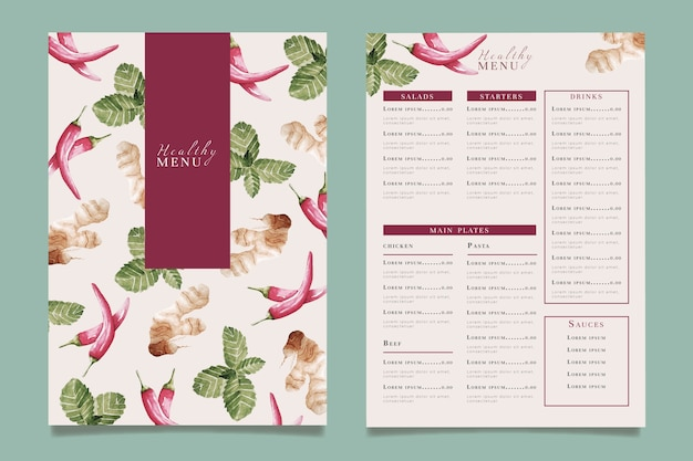 Watercolor healthy food restaurant menu template Free Vector