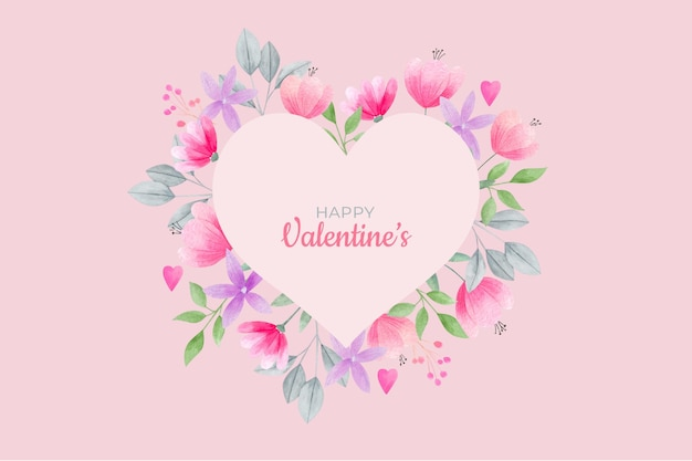 Watercolor Floral Heart Frame Pastel Colors Free Vector