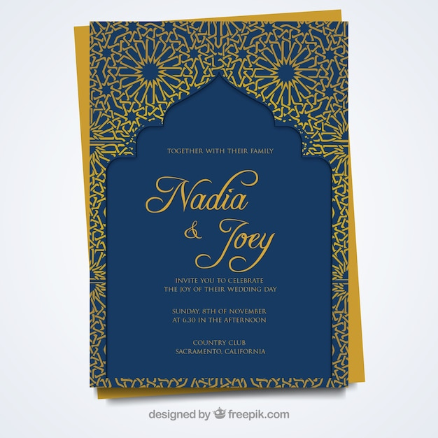 Wedding Card With Arabic Style