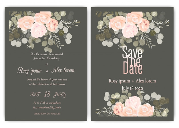 Wedding Invitation Card Floral Hand Drawn Frame Vector