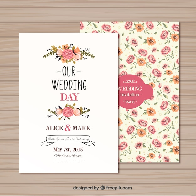 Wedding Invitation Template Vector Free