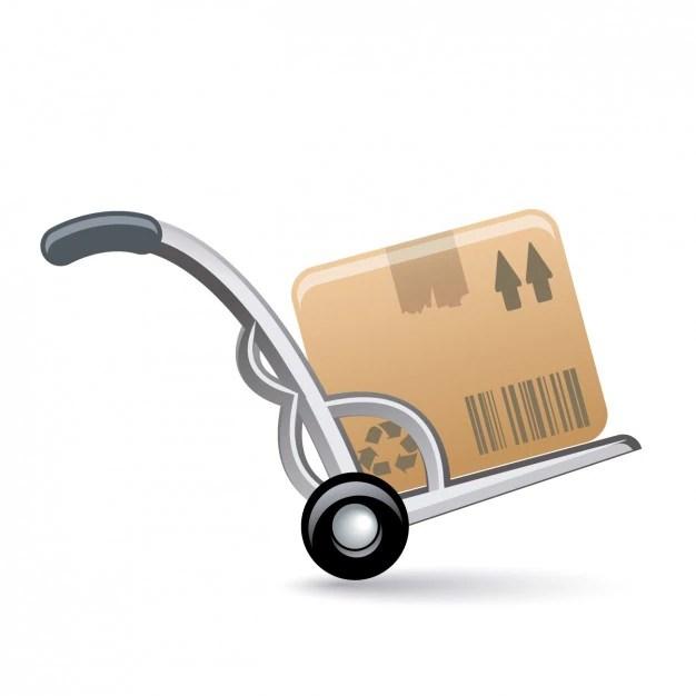 Wheelbarrow With Box Icon Vector Free Download