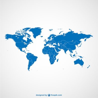 World map blue template Vector   Free Download World map blue template Free Vector
