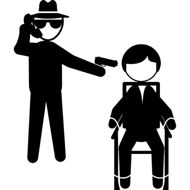 Gangster Parler Par Tlphone Et Montrant Avec Un Bras