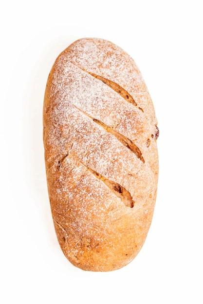 gros plan de pain isole sur fond blanc