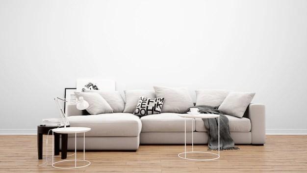 salon minimaliste avec canape et tapis