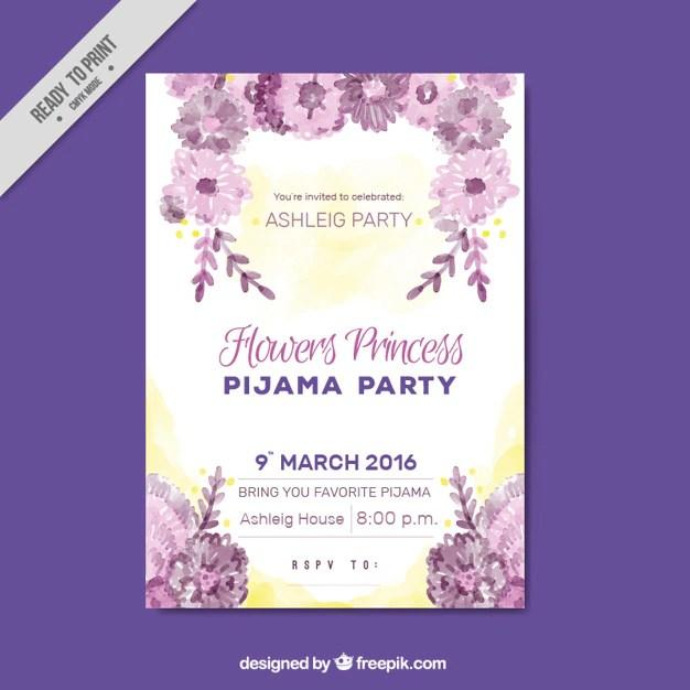 invitation pyjama party avec des fleurs
