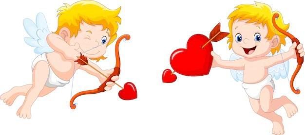 Cupido divertido con arco y flecha Vector Premium