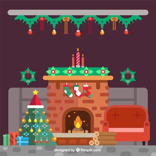 Fondo De Interior De Casa Con Chimenea Y Rbol De Navidad