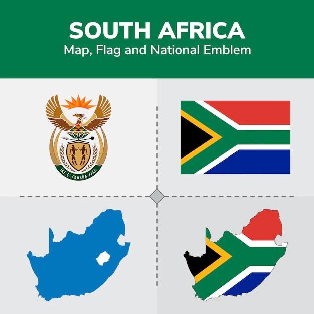 Mapa de sudáfrica, bandera y emblema nacional   Vector Premium
