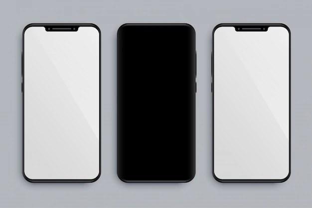 Maqueta de smartphone realista con parte delantera y trasera. vector gratuito