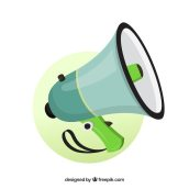 Megáfono verde Vector Gratis